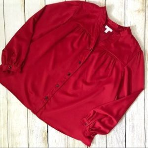 Charter Club 20W Red Button Down Blouse